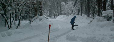 shovel out a path to the road from the campsite: