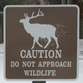 sign caution do not approach wildlife: