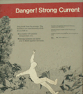 sign danger strong current: