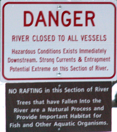 sign river closed Yosemite: