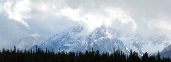 snow covered tetons on a September morning 2010: clouds, mountains and forest