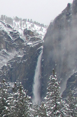 upper Yosemite falls winter 2011: upper Yosemite falls, snow ocvered cliffs and low clouds