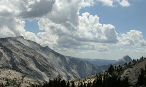 view from Olmstead Point with Cloud's Rest and Half Dome: