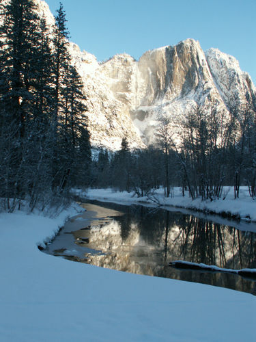 yosemite snow camp 2008 Yosemite Falls snowcone and ice on river: