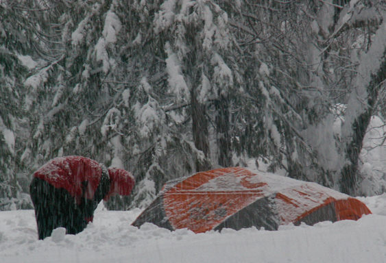 yosemite snow camp 2008 shovel out tent: