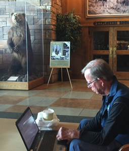 man working at a laptop with a grizzly bear standing nearby in a glass case