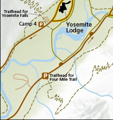 map showing part of east Yosemite Valley