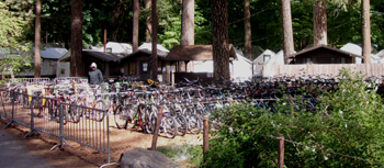rows of bikes and tent cabins behind