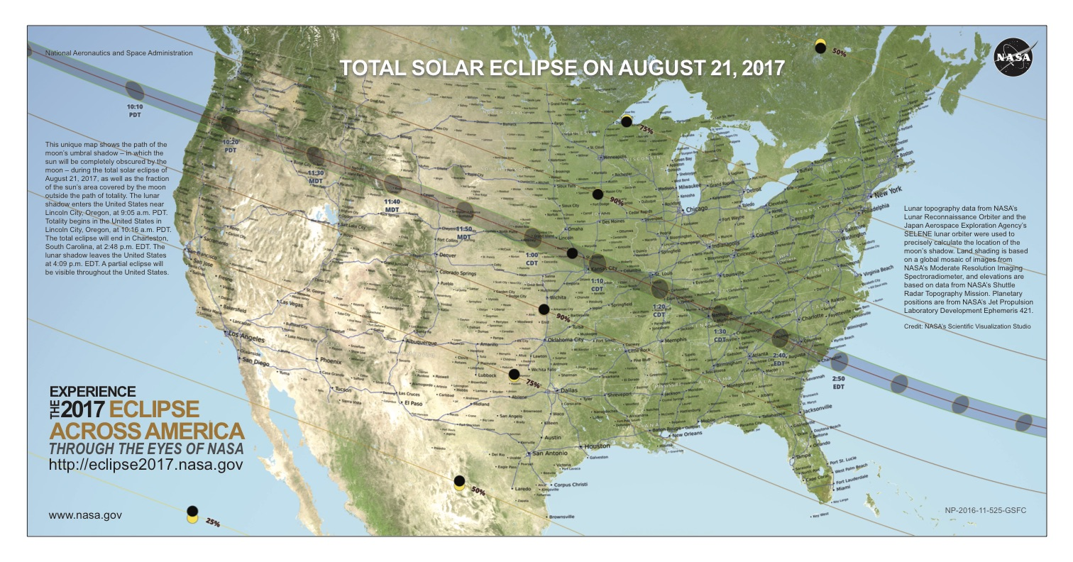 NASA map of the United states with the path of the 2017 eclipse