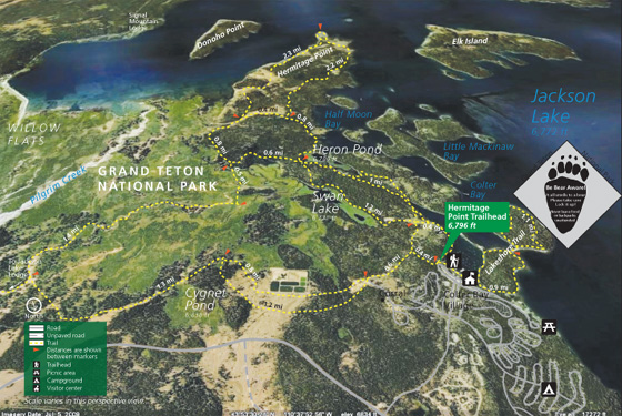 NPS photo map with lake, trails, roads