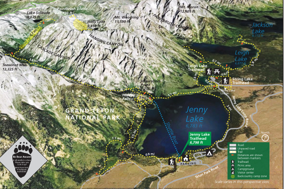 photo map with trails, lakes, peaks and roads