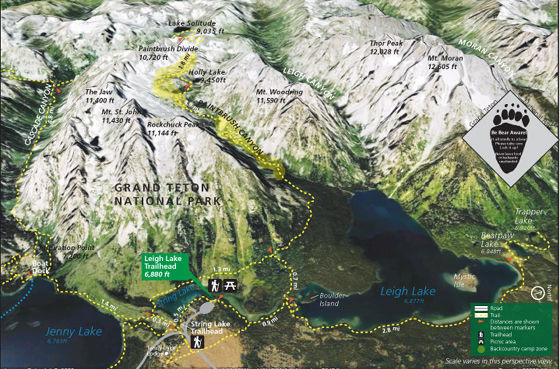 photo map of trails, lakes, peaks