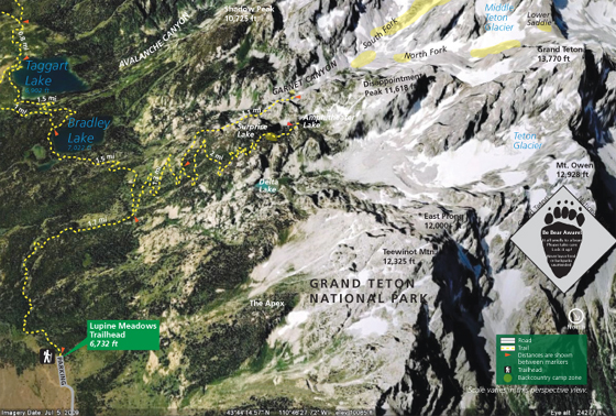 photo map with lakes, peaks, trails