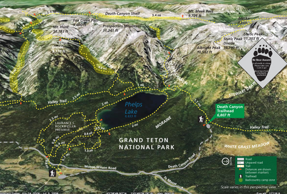 photo map of lakes, roads trails and peaks