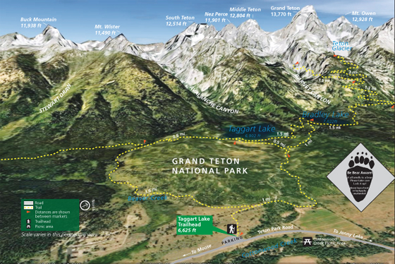 photo map with lakes, trails, peaks, highway