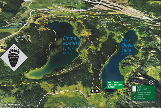 NPS  photo map with lakes, roads and trails