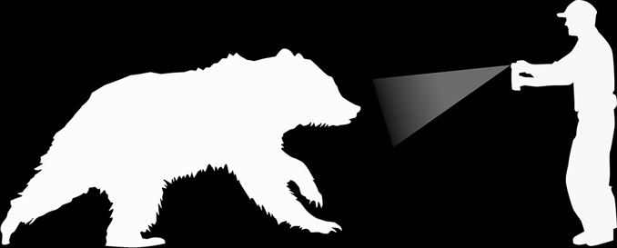 NPS line drawing of a bear and a man spraying bear spray at it
