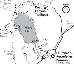 trail map with drawing of lake