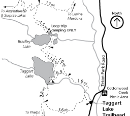 map showing a drawing of lakes and trails