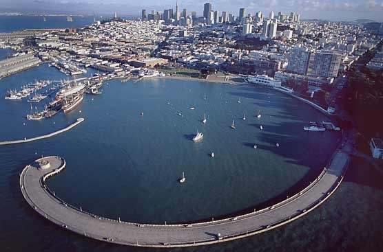 NPS aerial photo of Aquatic Park San Francisco with bay and buildings