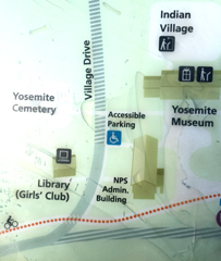 map with Yosemite library, Girls Club, main visitor center