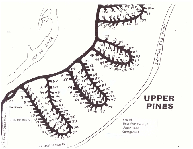 map of part of Upper Pines  campground