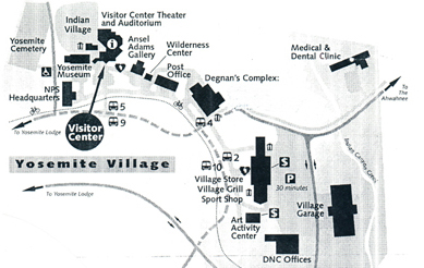 map showing locations of Yosemite Village buildings