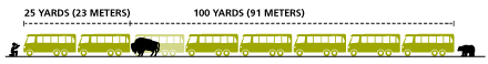 NPS drawing of a row of buses depicting the distance people need to stay away from animals