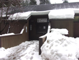 entrance to building with lots of snow