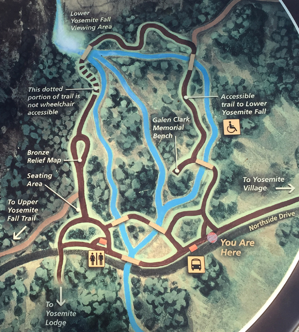 map of Lower Yosemite falls  walkways, river, bus stops