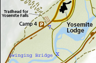 NPS map with added lettering to show how to find swinging bridge