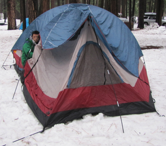 tent with end of poles sticking into snow instead of set in tent & Snow or rain camp must-haves u2013 Mary Donahue