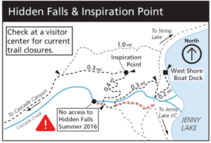 NPS map Hidden Falls trail closure summer 2016