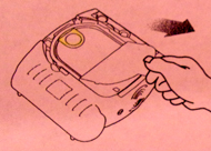 aed drawing of removing inner cover to get at AED pads