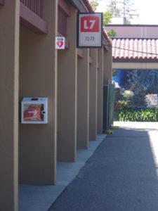 a e d on pillar outside of L7 building at De Anza College