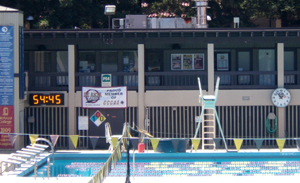west end of pool complex at De Anza College showing part of the diving well and an upstairs hallway