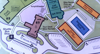 map with parking spaces, pool, buildings