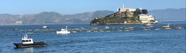 Alcatraz Island in background, 800 swimmers in foreground