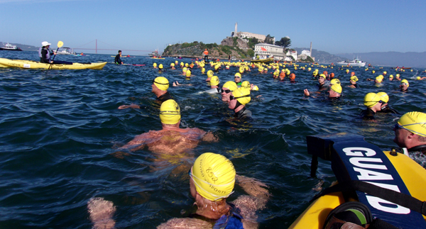 swimmers treading water before a race start