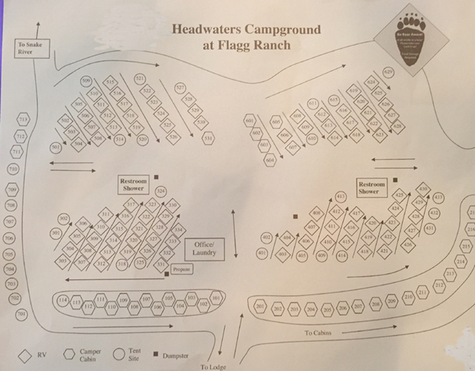 campground map showing rows of sites