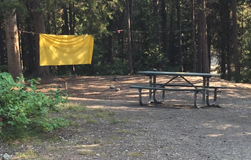 campsite with a large yellow cloth on clothesline