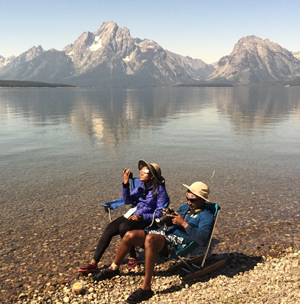 Teton range, Jackson Lake, Rajitha and KK during the solar eclipse