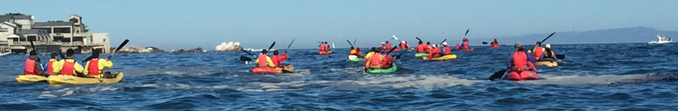 kayakers on Monterey Bay