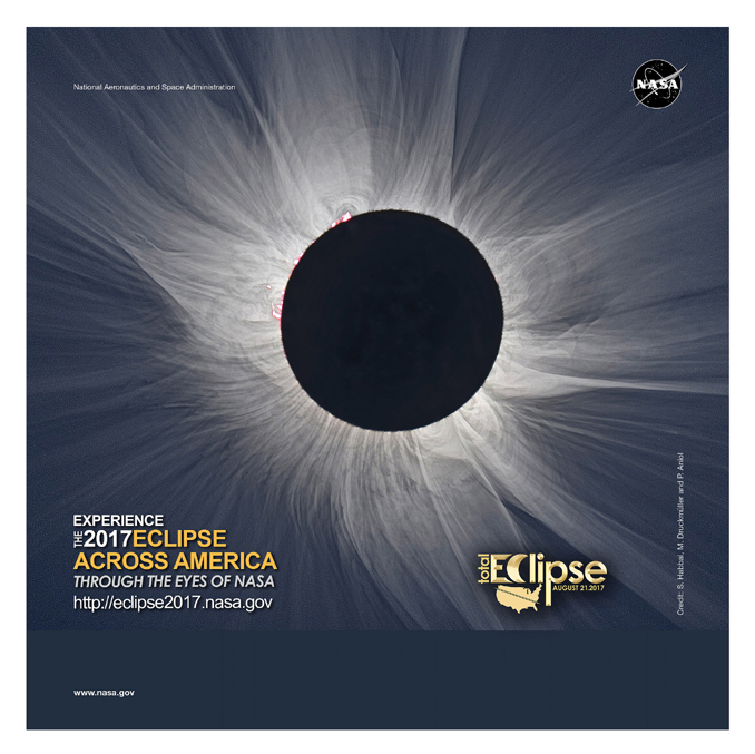 poster with a large photo of a total solar eclipse courtesy of NASA