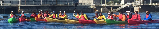 part of a group of kayakers