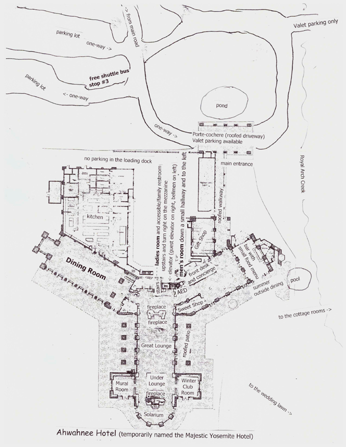 map of ground floor and surrounding area of the Ahwahnee Hotel, Yosemite National Park (temporarily named the Majestic Yosemite Hotel)