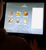 touchscreen at Base Camp eatery