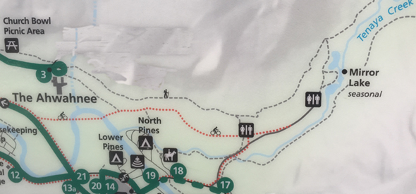 map showing trails and bus stops for the Mirror Lake trail, Yosemite