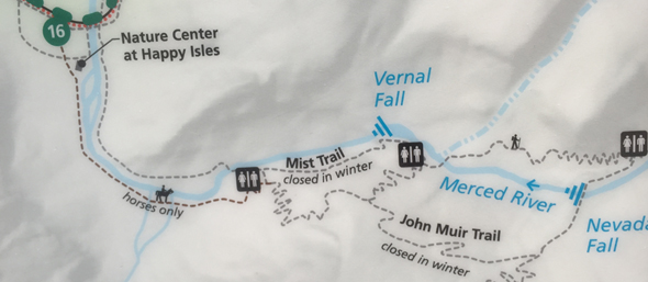 map showing Yosemite trails roads and shuttle bus stop 16 to Vernal and Nevada Falls