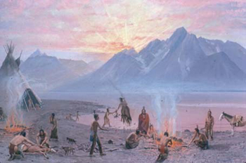 sunset over the tetons and indians on a beach with a campfire